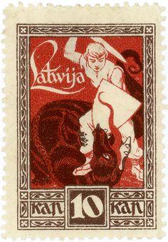 Latvia postage stamp: dragon