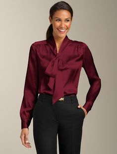 Talbots - Silk Charmeuse Tie-Neck Top   New Arrivals   Apparel