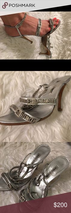 Manolo Blahnik Diamonds are a girls best friend!! Manolo Blahnik authentic silver rhinestone heels. Size 40 Statement shoes and in excellent condition. Price firm no trades. These run small so they are more about size 9. An extra sturdy/ comfort  leather exterior sole was added. See photo of bottom of shoes. Much easier to stand and walk w out pain. Shoes Heels
