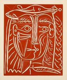 TÊTE DE FEMME AU CHAPEAU / PAYSAGE AVEC BAIGNEURS | From a unique collection of figurative prints at https://www.1stdibs.com/art/prints-works-on-paper/figurative-prints-works-on-paper/