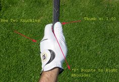 Illustration of proper top hand position in the golf grip