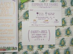 Like how they incorporated the language.  This invitation had to live up to the fun personality of the bride and groom! We used an illustration of their wedding venue to set off the fun invitation and accompanied it with adorable Italian-inspired illustration. The details extended to their day-of with napkins and even an olive oil label.