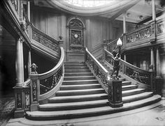 The grand staircase of the RMS Olympic in 1912. Although no photographs are known to exist of the RMS Titanic's grand staircase, this image helps to give a feel for what it was like.