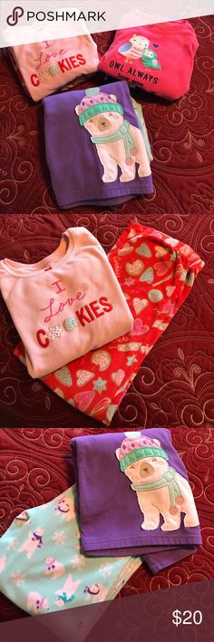 Carters Fuzzy Jammie's Bundle Carters PJ Bundle. 3 sets. Owl always love you, I love cookies, and Polar Bear.  Matching bottom to each top. Used condition but still lots of winter nights left. No stains or tears. Non smoking home. Carter's Pajamas Pajama Sets