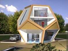 This unusual design is a Platonic solid. It consists of 12 regular pentagons. Thus, its height is dependent on the floor plan. In this case, a side length of m was chosen which gives a height of and thus allows three floors. Sustainable Architecture, Architecture Details, Dome Structure, Geodesic Dome Homes, Eco Design, Platonic Solid, Dome House, Unusual Homes, Round House