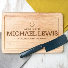 'Aspiring Chef' Wooden Personalised Chopping Board