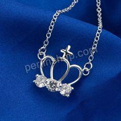 Messing Halskette, Krone, versilbert, Oval-Kette & mit kubischem Zirkonia, 22x20mm, Länge:ca. 18 Inch1, 10Stränge/Gruppe, verkauft von Grupp...