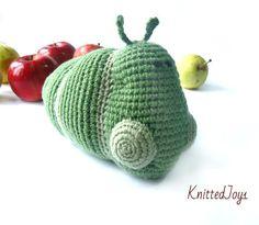 Caterpillar Toy green caterpillar Caterpillar with by KnittedJoy1