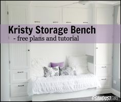 Kristy storage bench - free and easy plans from https://sawdustgirl.com. #DIY #Furniture #Plans
