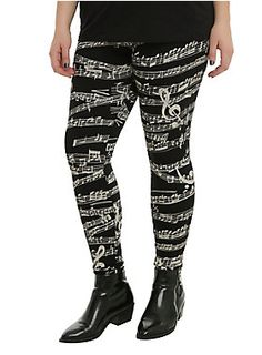 Get into music with these all over music staff print leggings.