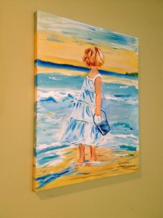 Girl at the Beach painting