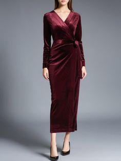 Surplice Neck Long Sleeve Elegant Maxi Dress with Belt