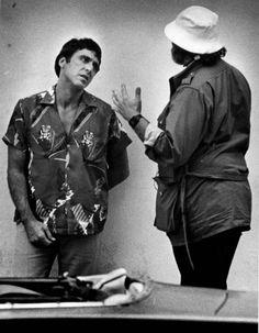Al Pacino & Brian De Palma on the set of, 'Scarface', 1983. | photo by Bill Reinke