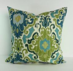 Blue and Green Decorative Pillow Cover, Throw Accent Pillow, Turquoise, Pillow Case, 18 x 18