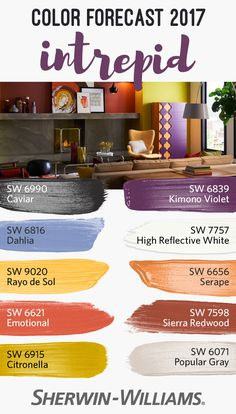 Go forth and boldly be you. That's the driving essence behind intrepid, one of four palettes from our 2017 Color Forecast. Dominated by a feisty energy, this palette is replete with fiery tones like Emotional SW 6621, Citronella SW 6915 and Serape SW 6656, along with vibrant kimono colors like Dahlia SW 6816 and Kimono Violet SW 6839.