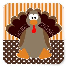 Cute Cartoon Turkey Happy Thanksgiving Sticker