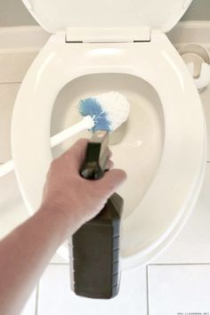 Toilet Brush Care 101 : End the Gross Out - Clean Mama. Spray the brush thoroughly with hydrogen peroxide to disinfect. And allow to drip dry Speed Cleaning, House Cleaning Tips, Cleaning Hacks, Cleaning Lists, Cleaning Solutions, Toilet Cleaning, Bathroom Cleaning, All You Need Is, Clean Mama