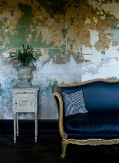 My ugly sofa-keep the gold and go with a deep navy solid (denim?)