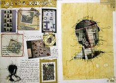 Photography students sometimes forget that the production of a photograph doesn't always end with the printing process. In this artist research page, buttons, assorted papers (including vintage pattern paper and tracing paper) coloured thread, negatives and developed prints have been stitched together, creating a rich and textural layout.   - See more at: http://www.studentartguide.com/articles/photography-sketchbook-ideas#sthash.o0R5e3OV.dpuf