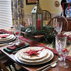 My Starry Burlap and Plaid Christmas Tablescape.. I would replace the stars on the plates with little sleds but its still beautiful
