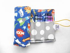 Crayon Organizer Roll  Rocket Ship  holds 24 by paperfromheaven Kids Travel Ideas // Crayon Roll // Party Favor