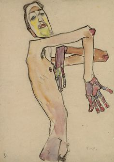 Egon Schiele, Erwin Dominik Osen, Nude with Crossed Arms, 1910