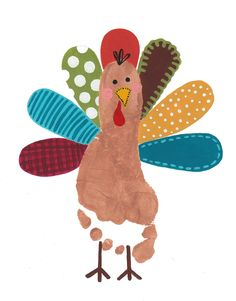 Footprint turkey ~~ cut feathers with scrapbook paper