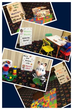Super Why Birthday Party Play stations at the party geared for 2 year olds I made the posters for the play stations