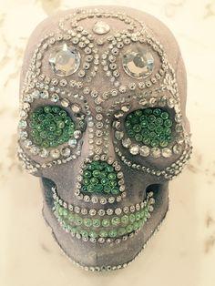 Dollar store skull covered in Martha Stewart iridescent grey glitter and decorat… – Haircolor – Haircolor