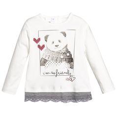 Baby Girls Cotton Ivory Panda T-Shirt, iDo, Girl