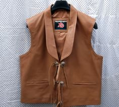 Bonanza style men's leather vest starting at  $199.99 choose your leather color, vest measurements, type of leather and any options while ordering. Light brown aniline leather color Bonanza style vest shown, front pic.