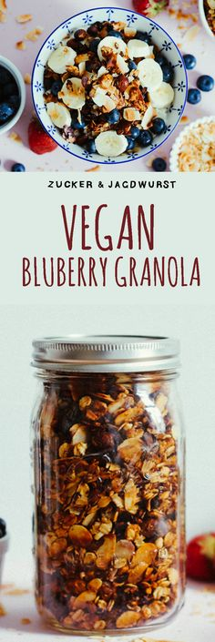 Vegan & Healthy Granola with blueberries and banana.