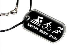 Swim Bike Run Triathlon - Swimming Biking Running - Military Dog Tag Black Cord Necklace - http://www.exercisejoy.com/swim-bike-run-triathlon-swimming-biking-running-military-dog-tag-black-cord-necklace/fitness/