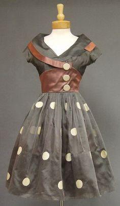 1950′s Grey Organdy and Mauve Satin Cocktail Dress