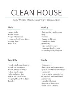 Daily, weekly, monthly, yearly house cleaning task lists