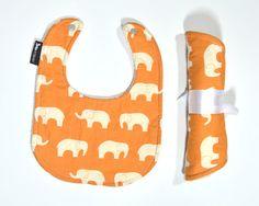 Organic Bib Elephant Bib Orange Elephant Baby Bib by KTJBaby