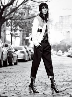 """Tomboys' Club - Super Bowl XLIX kicks off on the first of the month. Whether or not you've made the pilgrimage to Phoenix (we're leaning toward """"not,"""" though we love a surprise), a boyfriend-cut trouser makes for the perfect cheering ensemble—along with a boxy jacket and beanie for colder climes. Proenza Schouler leather jacket ($4,850) and shirt ($1,450); Proenza Schouler, NYC. Emporio Armani twill pants, $475; Emporio Armani boutiques. American Apparel beanie. Hermès black belt. Rodarte…"""