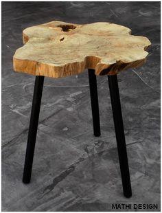 Table basse d'appoint 3 pieds Scandinave : table avec plateau en teck naturel originale et déco