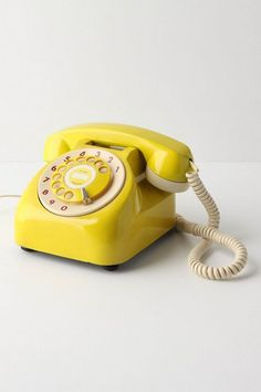 Vintage Rotary Phone eclectic home electronics - Retro Tech Vintage Phones, Yellow Submarine, Mellow Yellow, Color Yellow, Mustard Yellow, Big Yellow, Neon Green, Mint Green, Shades Of Yellow