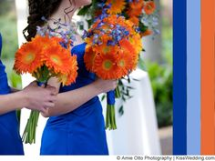 Fall wedding colors blue bright flowers and white meaning Best Wedding Colors, Wedding Color Schemes, Bright Flowers, Fall Flowers, Orange Flowers, Blue Orange Weddings, October Wedding Dresses, Wedding Bouquets, Wedding Flowers