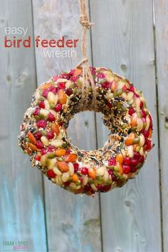 Easy Bird Feeder Kids Can Make, a beautiful Bird Feeder Wreath to decorate your yard and attract the birds