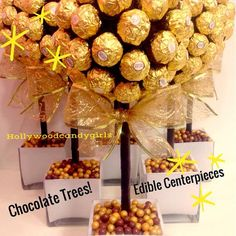 Ferrero Rocher Holiday Chocolate Brown,Gold Candy Arrangement Topiary Favors Centerpiece, Candy Buffet Decor, Wedding, from HollywoodCandyGirls on Etsy. Chocolate Tree, Chocolate Gold, Chocolate Bouquet, Rainbow Party Favors, Candy Party Favors, Edible Centerpieces, Edible Favors, Chocolate Centerpieces, Edible Bouquets