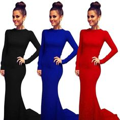 Fashion Sexy Women Long Sleeve Bandage Dress Evening Party Cocktail Long Dress #Unbranded #Casual