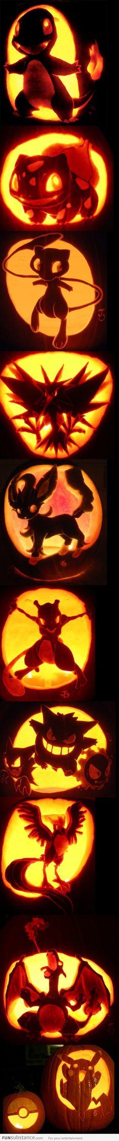 Pokemon pumpkin carvings