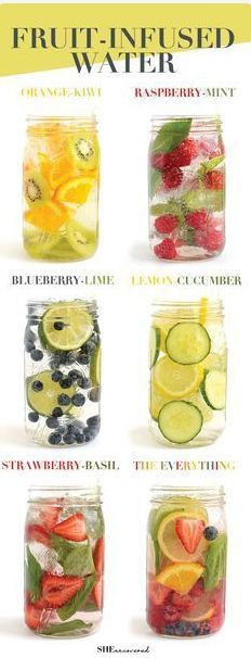 Make Your Fruit-Infused water Get in your daily water quota with this Fruit-Infused Water – 6 ways! From berries, to citrus, to cucumber and herbs, we've got you covered for refreshing drink recipes all summer long! http://naturallyhealthyplus.com/rrb9