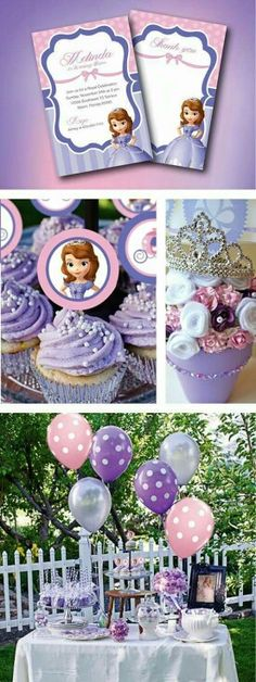 Sofia the First party ideas, Invitation, cup cake toppers & thank you cards! by GardellaGlobal Princess Sofia Birthday, Sofia The First Birthday Party, 4th Birthday Parties, 3rd Birthday, Birthday Ideas, Lila Party, Festa Party, Princesse Party, Party Decoration