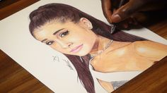 Ariana Grande Ballpoint Pen Drawing - Freehand Art