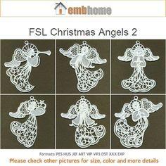 Diseños de aro de 5 x 5 10 FSL Navidad Ángeles 2 permanente