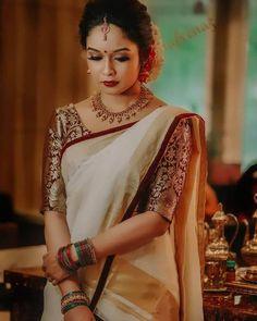 Brocade Blouse Designs, Kerala Saree Blouse Designs, Wedding Saree Blouse Designs, Half Saree Designs, Saree Blouse Patterns, Brocade Blouses, Wedding Sarees, Indian Bridal Outfits, Indian Bridal Fashion