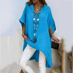 plus size shirts Women Summer Loose half Sleeve Solid women's Tops plain long beach Blouse casual large size fashion vrouw Maxi Dress With Sleeves, Half Sleeves, Types Of Sleeves, Shirt Sleeves, New Fashion Shirts, Half Sleeve Shirts, Plus Size Shirts, Batwing Sleeve, Long Sleeve